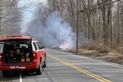 A Live Power Line came down on Saturday afternoon causing a power outage in the area and a small brush fire that was extinguised after the power company secured power.