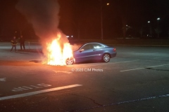 Upon Arrival firefighters were met with a well involved car fire